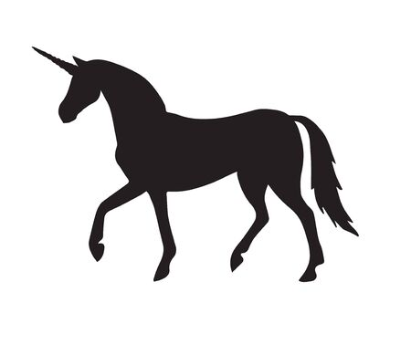 Vector black walking unicorn silhouette isolated on white background