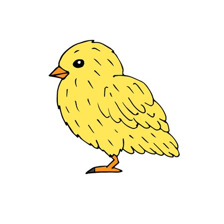 Vector hand drawn doodle sketch yellow baby chick isolated on white background