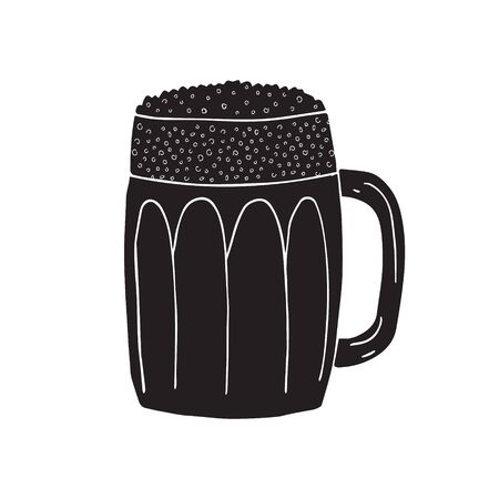 Vector black hand drawn doodle sketch beer glass isolated on white background