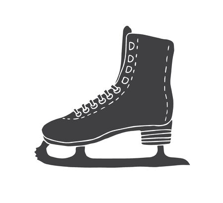 Vector hand drawn doodle sketch black ice skate isolated on white background