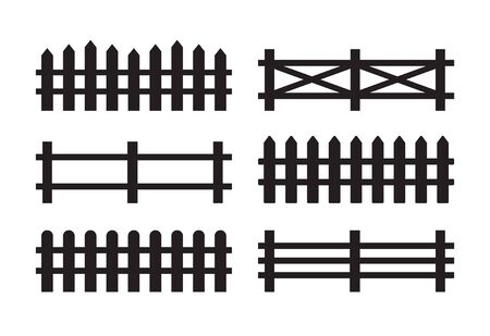 Vector set bundle of different black fence silhouette isolated on white background
