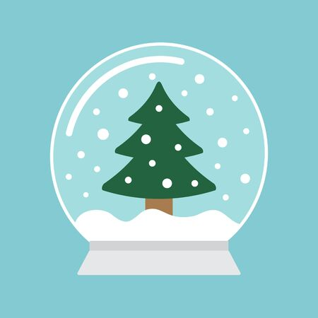 Vector flat cartoon snowball with Christmas fur tree isolated on blue background Фото со стока - 137784092