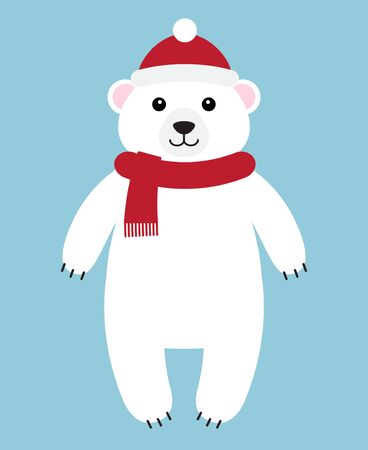 Vector flat cartoon white polar bear in hat and scarf standing isolated on blue background