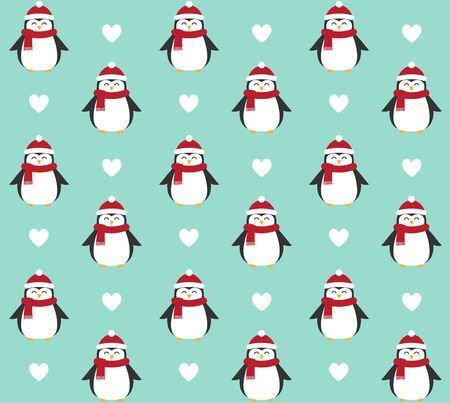 Vector seamless pattern of flat cartoon penguin in winter hat and scarf isolated on mint blue background Stock Illustratie