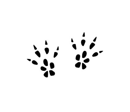 Vector black rat mouse foot print steps isolated on white background