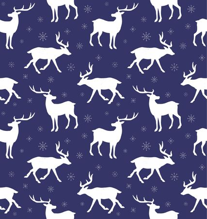 Vector seamless pattern of white deer silhouette and snow flakes isolated on dark blue background