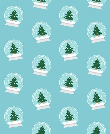 Vector seamless pattern of flat cartoon snowball with Christmas fur tree isolated on blue background
