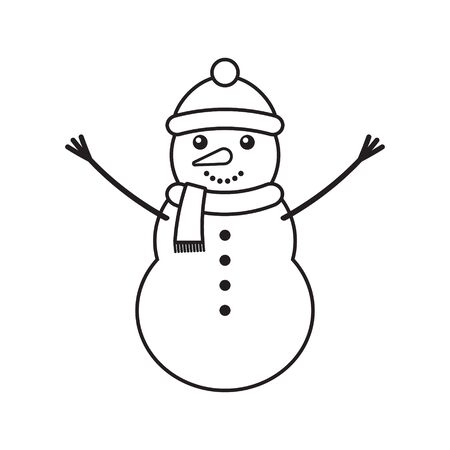 Vector flat outline snowman isolated on white background