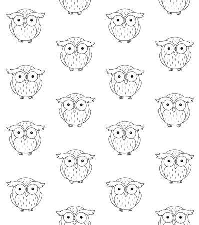 Vector seamless pattern of outline hand drawn doodle sketch owl isolated on white background