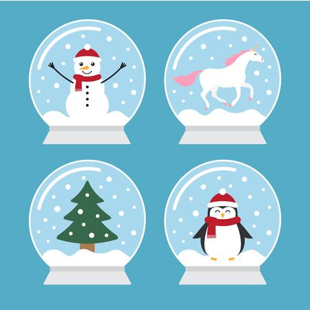 Vector flat cartoon set bundle of snow balls with penguin, snowman, unicorn and Christmas tree spruce isolated on blue background Иллюстрация
