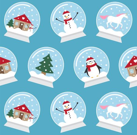 Vector seamless pattern of different flat cartoon snowball isolated on blue background Ilustrace