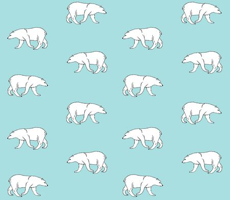 Vector seamless pattern of hand drawn doodle sketch polar bear isolated on pastel blue background Stock Illustratie