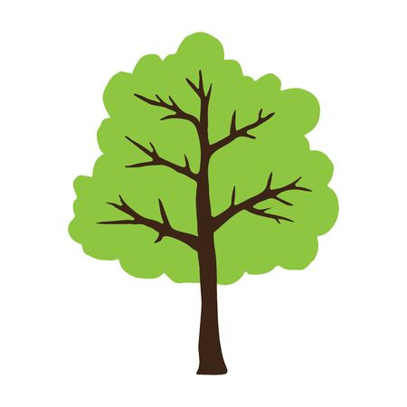 Vector hand drawn doodle sketch green tree isolated on white background