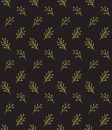 Vector seamless pattern of golden glitter Christmas winter floral leaves and branches silhouette isolated on black background Ilustração