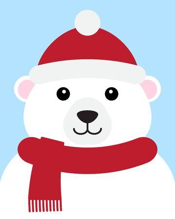 Vector flat cartoon polar bear face in hat and scarf portrait isolated on blue background Иллюстрация