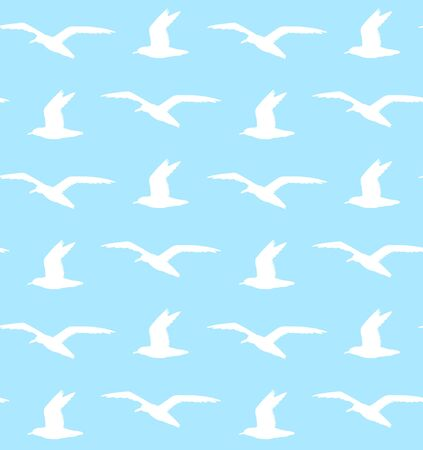 Vector seamless pattern of white flying sea gull silhouette isolated on blue background
