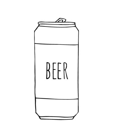 Vector hand drawn sketch doodle beer can isolated on white background