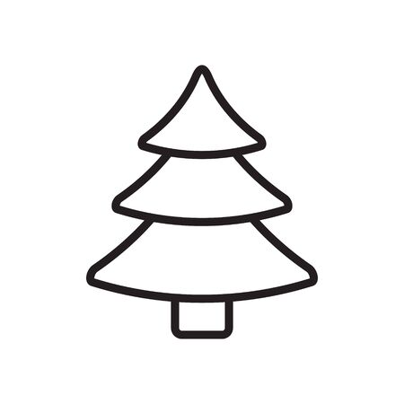 Vector flat cartoon outline Christmas tree fur spruce isolated on white background
