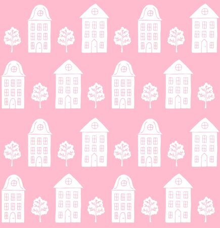 Vector seamless pattern of white hand drawn doodle sketch Scandinavian city house and trees isolated on pink background Ilustracja