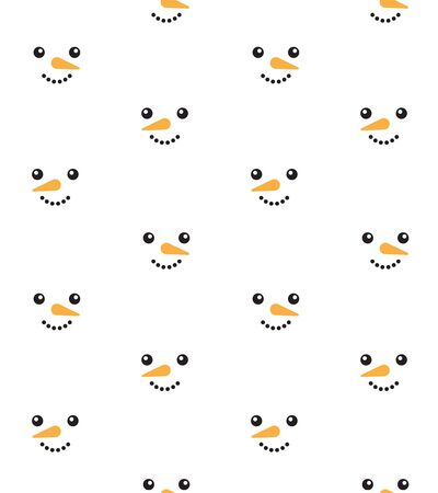 Vector seamless pattern of flat cartoon snowman face isolated on white background