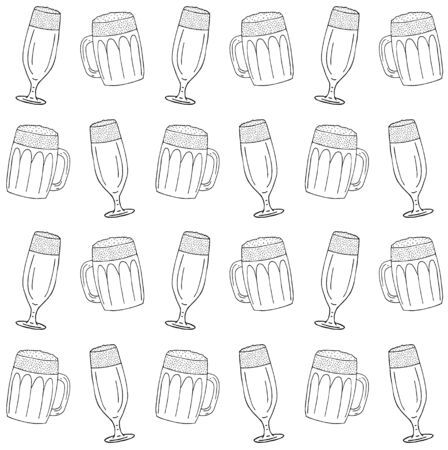 Vector seamless pattern of different hand drawn doodle sketch beer glasses isolated on white background
