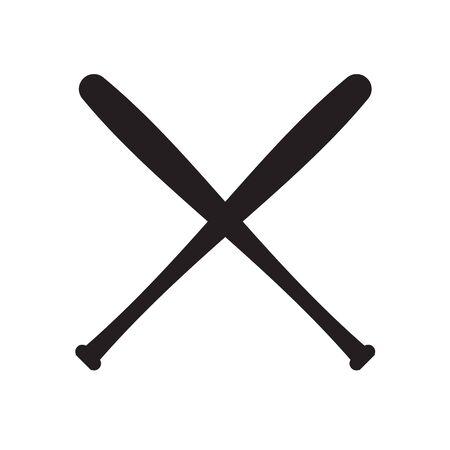 Vector black flat crossed baseball bat silhouette isolated on white background Ilustrace