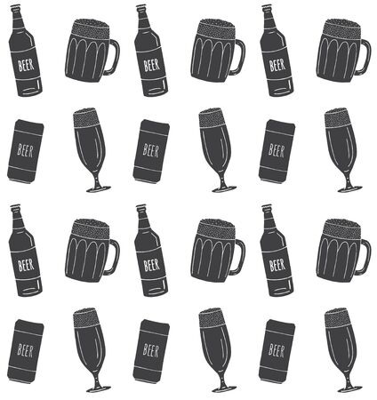 Vector seamless pattern of different black hand drawn doodle sketch beer glasses and bottles isolated on white background
