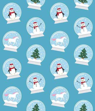 Vector seamless pattern of flat cartoon snow balls with penguin, snowman, unicorn and Christmas tree spruce isolated on blue background