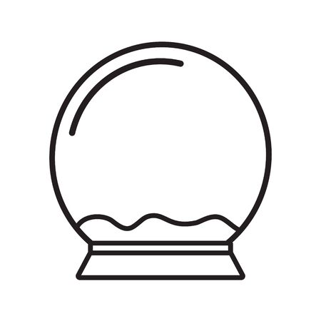 Vector flat black outline empty snow ball template isolated on white background Ilustração
