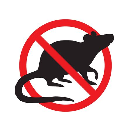 Vector anti pest sign with black rat silhouette under crossed red circle isolated on white background