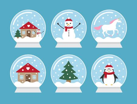 Vector set bundle of different snowballs isolated on blue background Фото со стока - 137784259
