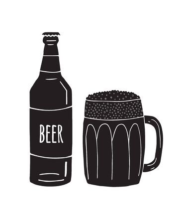 Vector black hand drawn doodle sketch beer glass and bottle isolated on white background Фото со стока - 137784251