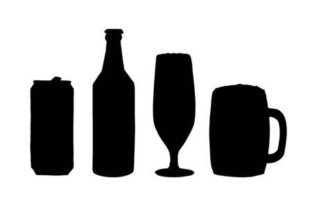 Vector set bundle of black silhouette beer cans and bottles isolated on white background