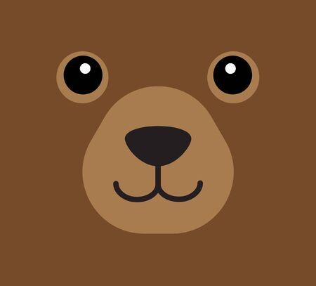 Vector flat cartoon bear face isolated on brown background