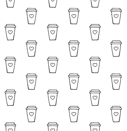 Vector seamless pattern of hand drawn doodle sketch take away coffee isolated on white background