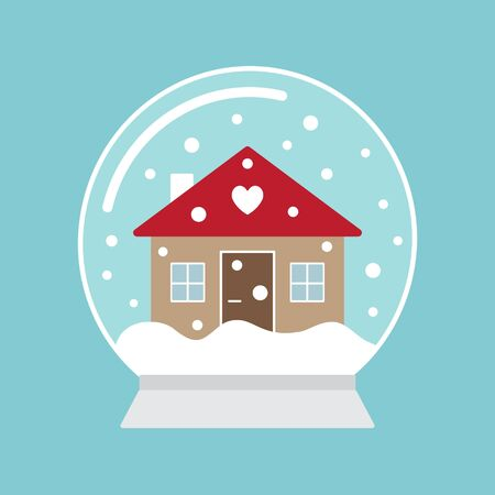 Vector flat cartoon snowball with winter house isolated on blue background Иллюстрация