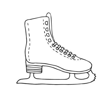 Vector hand drawn doodle sketch ice skate isolated on white background Фото со стока - 137784425