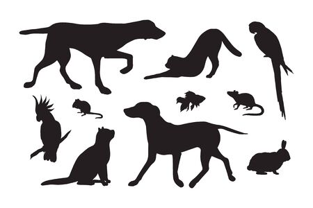 Vector set bundle of black different pets silhouette isolated on white background Иллюстрация