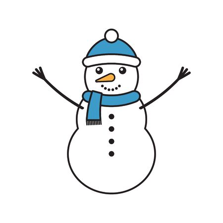 Vector flat cartoon snowman isolated on white background