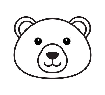 Vector black outline flat cartoon bear face isolated on white background