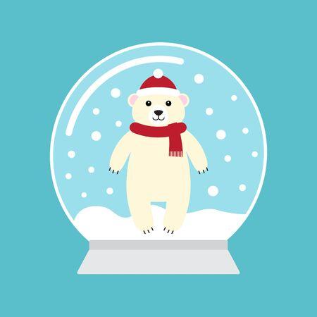 Vector flat cartoon snowball with polar bear isolated on blue background  Ilustração