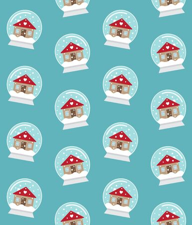 Vector seamless pattern of flat cartoon snowball with winter house isolated on blue background