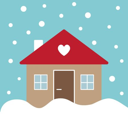 Vector flat cartoon country house isolated on winter snowing landscape
