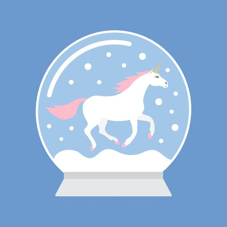 Vector flat cartoon snow ball with unicorn isolated on blue background