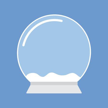 Vector flat cartoon empty snow ball template isolated on blue background Ilustração