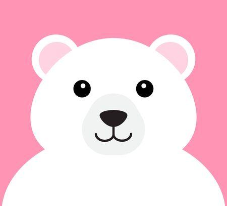 Vector flat cartoon polar bear face portrait isolated on pink background Фото со стока - 137784833