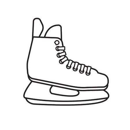 Vector flat outline hockey ice skate isolated on white background Иллюстрация