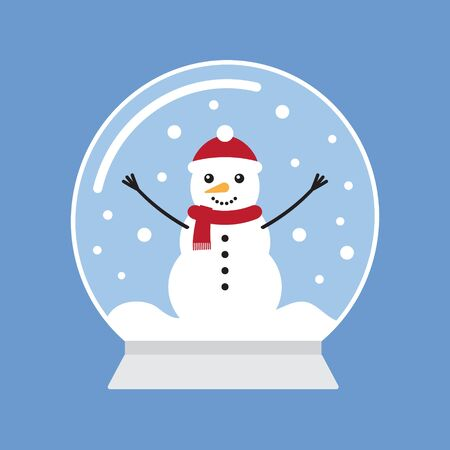 Vector flat cartoon snowball with snowman isolated on blue background