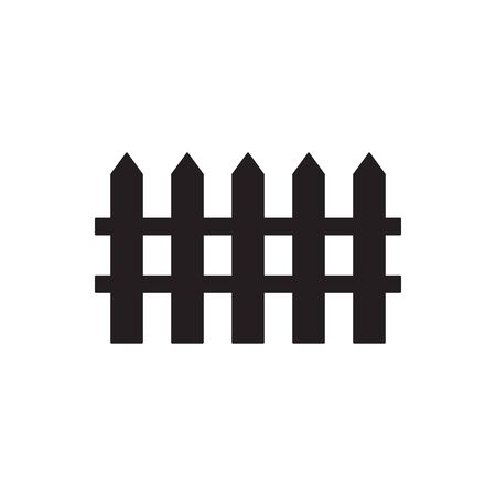 Vector flat black fence silhouette icon isolated on white background