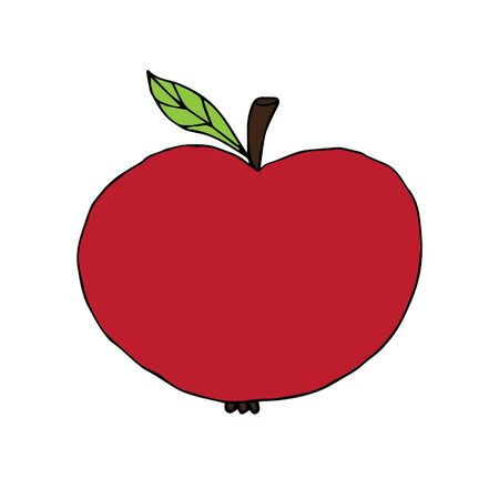 Vector hand drawn doodle sketch red apple isolated on white background Фото со стока - 137785461